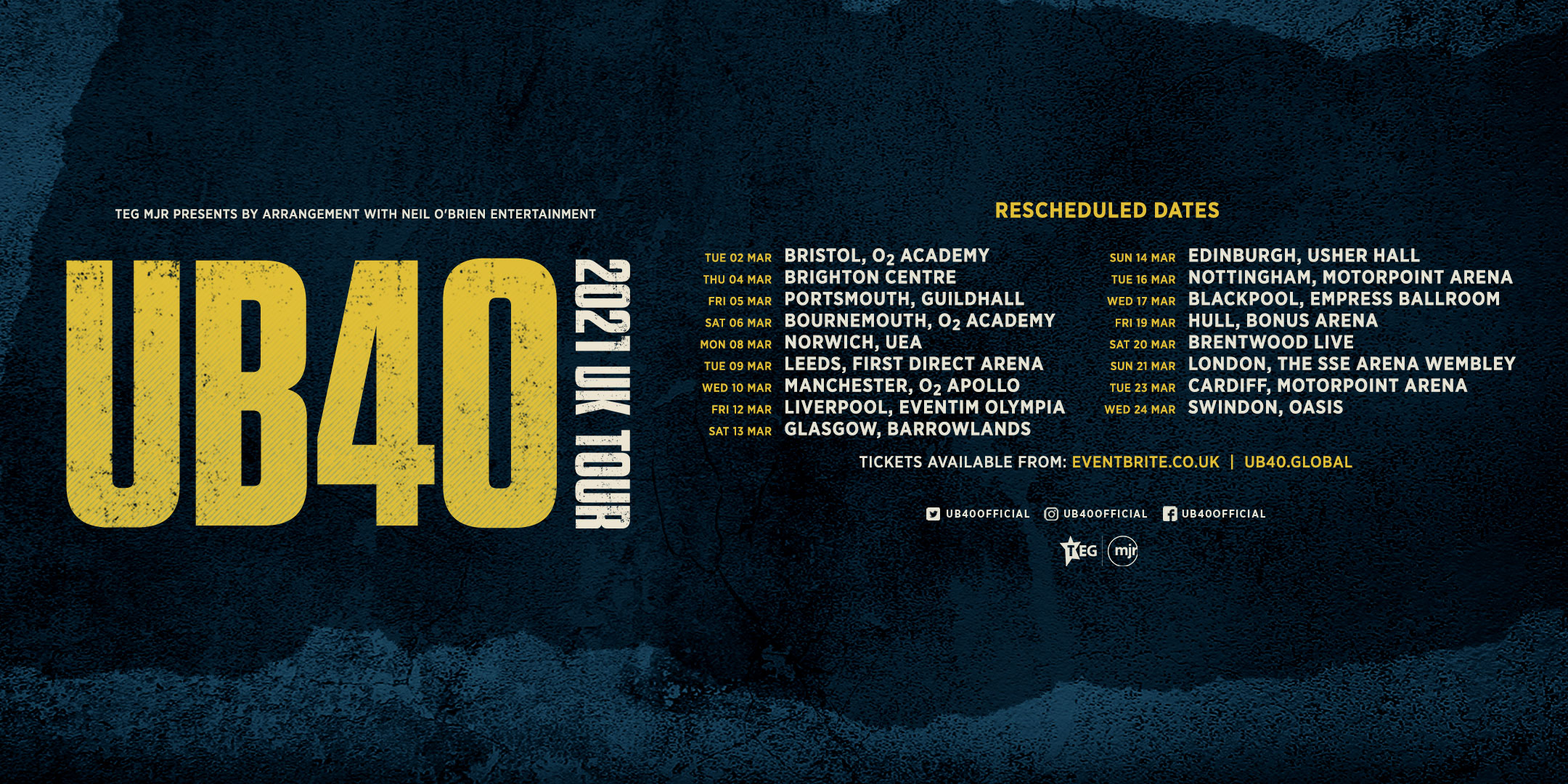 UB40 2021 Rescheduled Tour